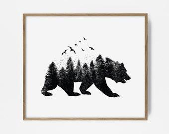 bear print, forest print, forest wall print, bear art, native print, native art, boho print, woodland art, woodland print, printable bear