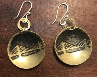 Portland Jewelry, Tilikum Bridge,  Made in Oregon, Bridges of Portland, Brass Etched Earrings, Small Handmade Earrings