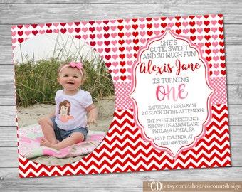 Valentine's Birthday Photo Invitation / Valentine's Birthday Invitation / Girls Birthday / Chevron Hearts Red Pink / Digital File