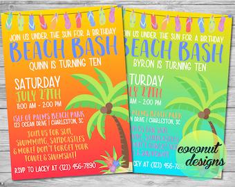 Beach Birthday Invitation / Beach Party Invitation / Beach Invitation /  Beach Party Invite / Ocean Invite / Surfing Invite / Digital File