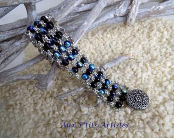 "Bracelet ""roundup mesh"" jet and silver"