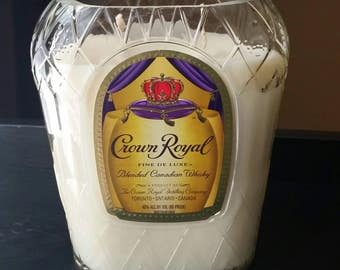 Crown Royal bottle candle - liquor bottle candle - scented candle