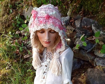 Knit hoodie hat, women's hat in pinks, roses, whites, light green, spring,hand spun merino wool, art yarn , felted roses, pearls, romantic