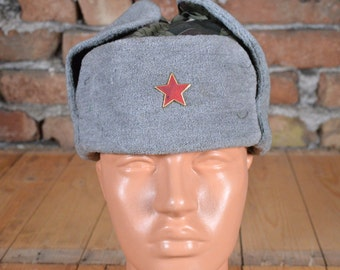 Vintage hat - Military hat - Military cap - Red star hat - Camouflage hat - Winter hat - WW2 model cap - Trapper hat - Ushanka hat