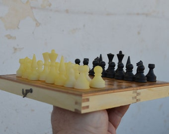 """Wooden chess set - Vintage small chess set - 7.2"""" x 7.2"""" chess - Travel chess - Folding chess game - Board chess set + plastic pieces"""
