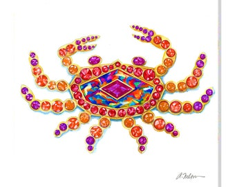 Crab Watercolor Brooch Rendering in Yellow Gold with Opal, Rubies, Sapphires and Citrines printed on Canvas