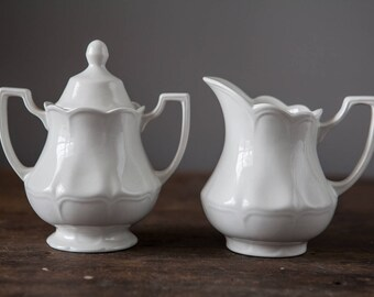 J&G Meakin Heirloom White Ironstone Creamer and Sugar