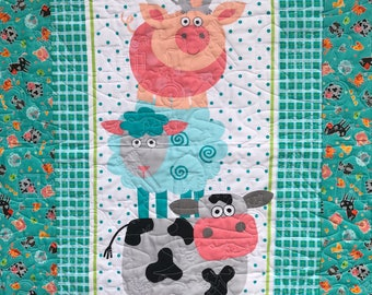 Funny Farm Baby Quilt or Toddler Quilt, Baby Wall Quilt - Homemade