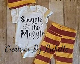 Harry Potter inspired Snuggle This Muggle 3 Piece Outfit (3-6 months)