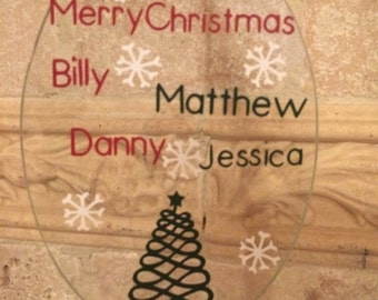 Personalized glass ornament. Tree Ornament. Family Ornament.