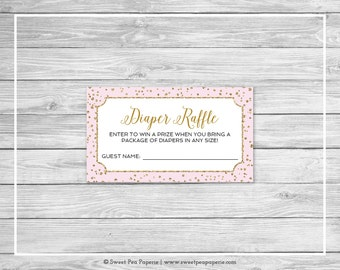 Pink and Gold Baby Shower Diaper Raffle Insert - Printable Baby Shower Diaper Raffle Cards - Pink and Gold Confetti Baby Shower - SP145