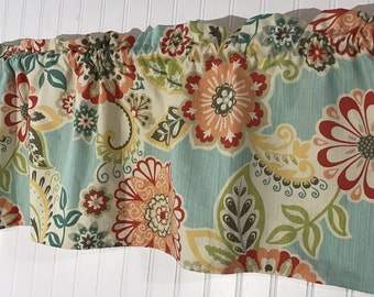 Aqua and coral flower Curtain Valance