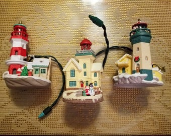 Hallmark Ornament Lighthouse Series Set of 3 No Boxes - As Is - Mixed Lot