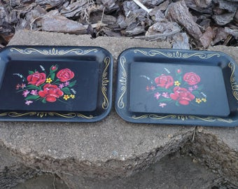 Small Dresser Trays , Metal ,Tole