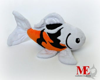 Koi Fish Plush: Custom Color and Pattern Japanese Goldfish Beanie Plushie in Gold, Orange, Snow White, Black, and Crimson