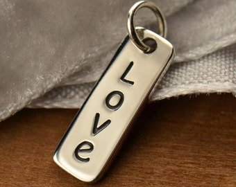 Love Word Charm Sterling Silver Vertical Love Word Tag Charm, Love Charm, Rectangle Charm