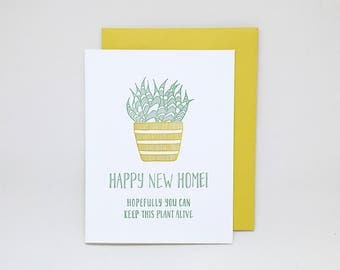 Housewarming Card: Happy New Home // letterpress new home card, new homeowners, succulent, housewarming gift, new house, new apartment
