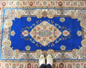 Vintage Persian Blue Kerman Rug, Bohemian Rug, oriental home decor