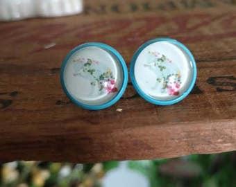 Floral Cat Silhouette Earrings Blue Studs Dainty Hypoallergenic Stud Earrings