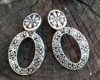 Vintage Silver Earrings Large Dangle Drop Earrings