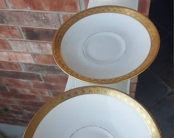 Vintage Lambert China, The Waldorf Astoria New York 3 Bread and Butter Plates, Saucers, Vintage Waldorf China, New York, Scammell, Strauss