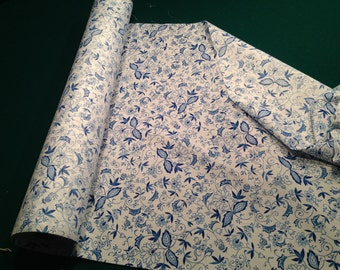 "Royal Blue and White Floral Cotton Sheeting BTY 43"" wide.  Vintage bolt from estate"