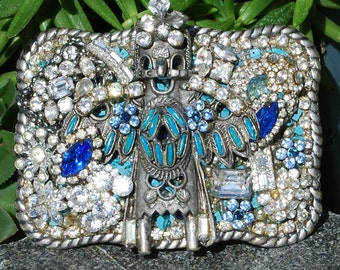 Vintage Belt Beckle with Costume Jewelry, Western Buckle, Crystal Buckle, Kachina. Western Belts, Cowgirl Accessories