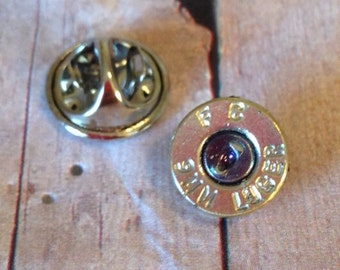 9mm Bullet Hat Pin / Tie Tack, Mens accessories, Bullet accessories, Handmade gifts, Up Cycled bullets