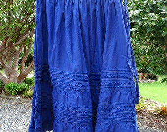 Authentic Mexican Sapphire Blue Skirt