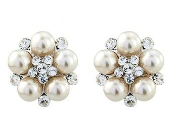 Ivory Clip-On Earrings,Wedding Earrings, Pearl Crystal Earrings, Pearl Bridal Earrings,Bridal Earrings,Sparkly Earrings,Hollywood Chic