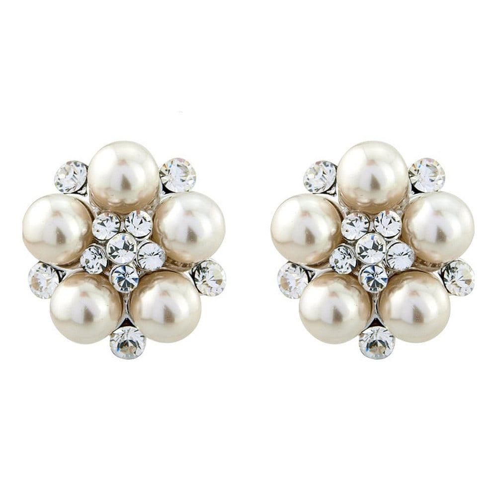 ivory clip on earringswedding earrings pearl crystal. Black Bedroom Furniture Sets. Home Design Ideas