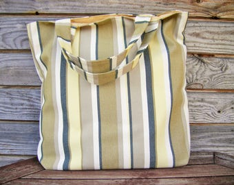 Tote bag, 100% linen  bag, Grocery Reusable Bag, Eco-friendly Natural Beach Tote Bag, RE-Used, Striped linen