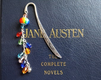 Metal bookmark with rainbow European bead and cascades of colourful raindrop beads