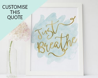 Custom quote poster - custom art - personalised print - custom print - typography print - inspirational quote print - mint and gold