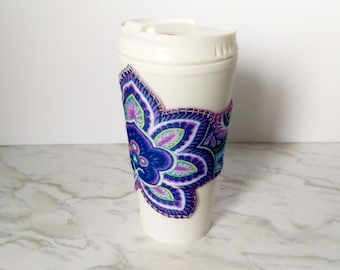 Paisley Flower Coffee Cup Cozy - Flower Coffee Cuff - Paisley Thermos Cuff - Hippie Purple Print - Hippie Thermos - Coffee Cup Sleeve