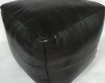 Moroccan Contemporary design,  100% Leather, Hand Stitched Square Large Pouffe UNSTUFFED