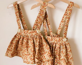 READY to SHIP Flora Handmade Girls Liberty Print CORD Suspender Skirt 12-18m