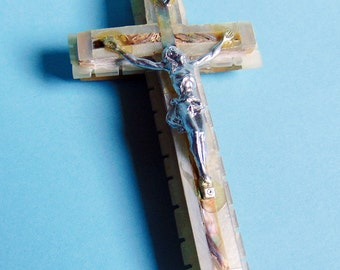 "Vintage Mother of Pearl Cross – 4"" Wall Crucifix – Marked Bethlehem - Christian Cross"