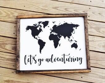 Wood Adventure Sign, Adventure Sign Wood, World Map Wood Sign, Large Wood Map, World Map Wall Art, Graduation Gift, Cute Office Decor,