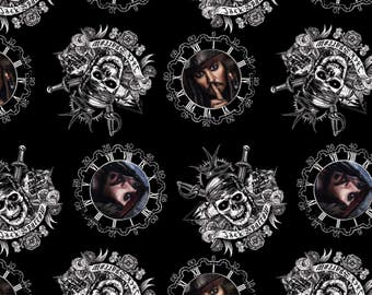 Disney Pirates of the Caribbean Captain Jack Sparrow Fabric - Black (Sold by the half yard)