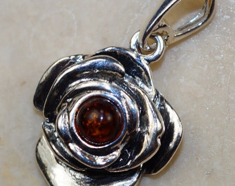 Cognac Polish Baltic Amber Rose & 925 Sterling Silver Pendant by Silver Trend