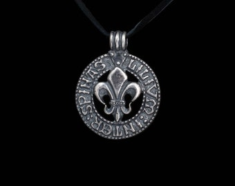 Lily Among Thorns Pendant, Fleur De Lis Pendant, Lilium Inter Spinas, silver-plated brass, handmade