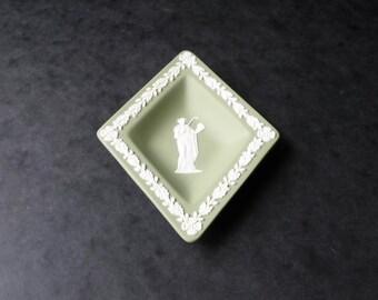 Wedgwood 1976 Sage Green Jasperware Diamond Pin Dish