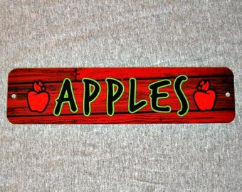 Metal Sign APPLES apple orchard tree juice farmers market fruit farm stand red green granny smith kitchen wall plaque