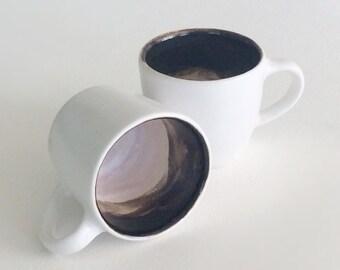 Pair of ceramic espresso cups, handmade, minimalist
