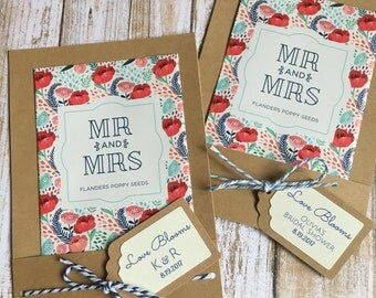 12 - Seed Packet Favors, Wedding Flower Seed Favors, Bridal Shower Flower Seed Favors, Love Blooms Seed Favors, Personalized Seed Favors