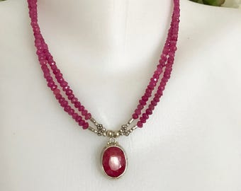Pendant Necklace,   Ruby Necklace ,  Sterling silver pendant Necklace,