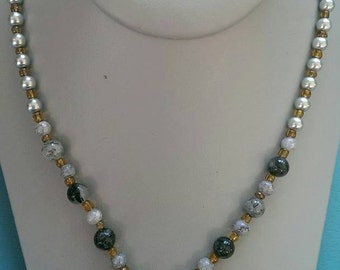 Black and Gray Bicone Crystal Beaded Necklace