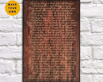 Wedding Song lyric print Wood sign Anniversary gift for Men, Her IF Poem print Rudyard Kipling gift for Women, Husband Panel effect wood art