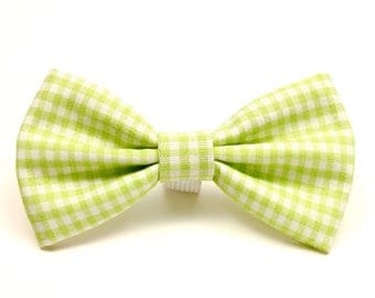 Dog Bow Tie - Green Dog Bow Tie - Gingham Pet Bow Tie - Detachable Dog Bow Tie - Cat Bow Tie - Gifts for Dogs - Spring Pet Bow Tie